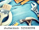 Set Of Various Tools On Blue...