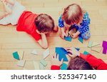 teacher and kids playing with... | Shutterstock . vector #525347140