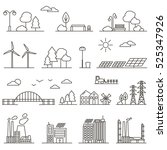 eco city in linear style  ... | Shutterstock .eps vector #525347926