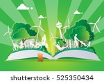 concept of eco with family... | Shutterstock .eps vector #525350434