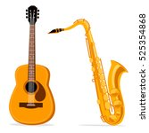 saxophone and acoustic guitar.... | Shutterstock .eps vector #525354868