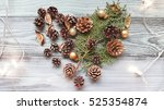 heart made out from pine cones...   Shutterstock . vector #525354874