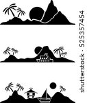 set of flat graphic island with ... | Shutterstock .eps vector #525357454