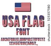 usa national flag stylized font ... | Shutterstock .eps vector #525357580
