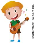 little boy playing guitar alone ...   Shutterstock .eps vector #525375106