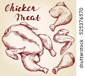 chicken meat set hand drawn... | Shutterstock .eps vector #525376570
