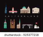 switzerland landmarks travel... | Shutterstock .eps vector #525377218