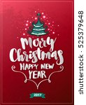 christmas greeting card merry... | Shutterstock .eps vector #525379648