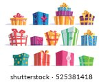 vector set of different gift... | Shutterstock .eps vector #525381418
