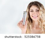 young blonde woman presenting... | Shutterstock . vector #525386758