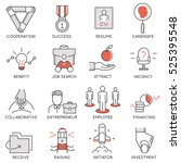 vector set of flat linear icons ... | Shutterstock .eps vector #525395548