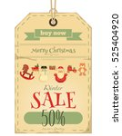 christmas sale tag in retro... | Shutterstock .eps vector #525404920