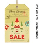 christmas sale tag in retro... | Shutterstock .eps vector #525405160