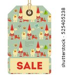 christmas sale tag in retro... | Shutterstock .eps vector #525405238