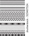 maori brushes set in white | Shutterstock .eps vector #525407524