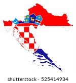 flag map of croatia country on... | Shutterstock .eps vector #525414934