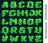 alphabet logos with green... | Shutterstock .eps vector #525415960
