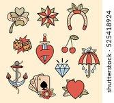 set of old school tattoos. hand ... | Shutterstock .eps vector #525418924