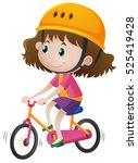 girl wearing helmet when riding ... | Shutterstock .eps vector #525419428