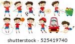 boy doing different activities... | Shutterstock .eps vector #525419740