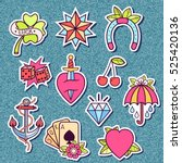 set of stickers with old school ... | Shutterstock .eps vector #525420136