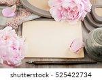 empty blank paper on retro... | Shutterstock . vector #525422734