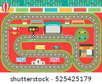sport car racing track play mat ... | Shutterstock .eps vector #525425179