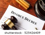 divorce decree and gavel on a... | Shutterstock . vector #525426409