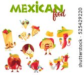 set of happy mexican food... | Shutterstock .eps vector #525429220