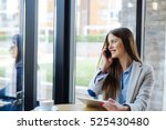 woman holding tablet and... | Shutterstock . vector #525430480