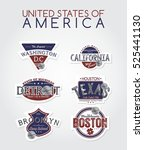 america emblem badge label... | Shutterstock . vector #525441130