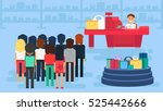 store with customers big crowd... | Shutterstock .eps vector #525442666