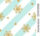 christmas gold snowflake... | Shutterstock .eps vector #525452008