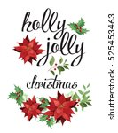 holly  jolly. wreath of red... | Shutterstock .eps vector #525453463