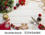 christmas knife and fork... | Shutterstock . vector #525456484