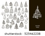 set of christmas black trees... | Shutterstock .eps vector #525462238