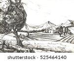countryside sketch. ...   Shutterstock . vector #525464140