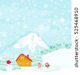 winter landscape   girls on... | Shutterstock . vector #525468910
