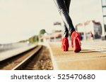 woman in red high heels walking ... | Shutterstock . vector #525470680