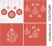 christmas snowflakes and balls. ... | Shutterstock .eps vector #525470689