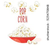 pop corn in a red bowl. flat... | Shutterstock .eps vector #525470848