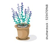 Cartoon Lavender In Pot . Flat...