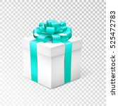 gift box with blue ribbon... | Shutterstock .eps vector #525472783
