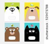 baby cat  panda  dog  bear... | Shutterstock .eps vector #525473788
