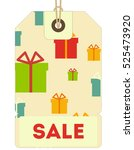 christmas sale tag in retro... | Shutterstock .eps vector #525473920