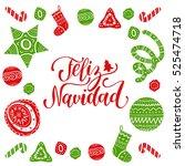 vector feliz navidad ... | Shutterstock .eps vector #525474718