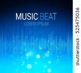 music beat vector. blue lights... | Shutterstock .eps vector #525475036