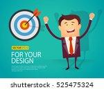 happy business man arrow hit... | Shutterstock .eps vector #525475324