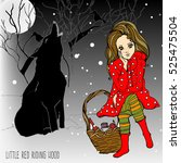 illustrated girl and wolf in... | Shutterstock .eps vector #525475504