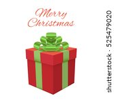 xmas box on white background.... | Shutterstock .eps vector #525479020